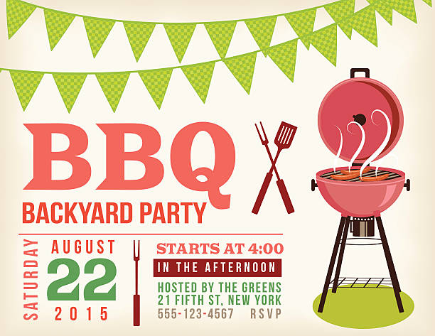retro bbq invitation template with checkered flags - family reunion stock illustrations, clip art, cartoons, & icons