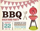 Retro BBQ Invitation Template With Checkered Flags