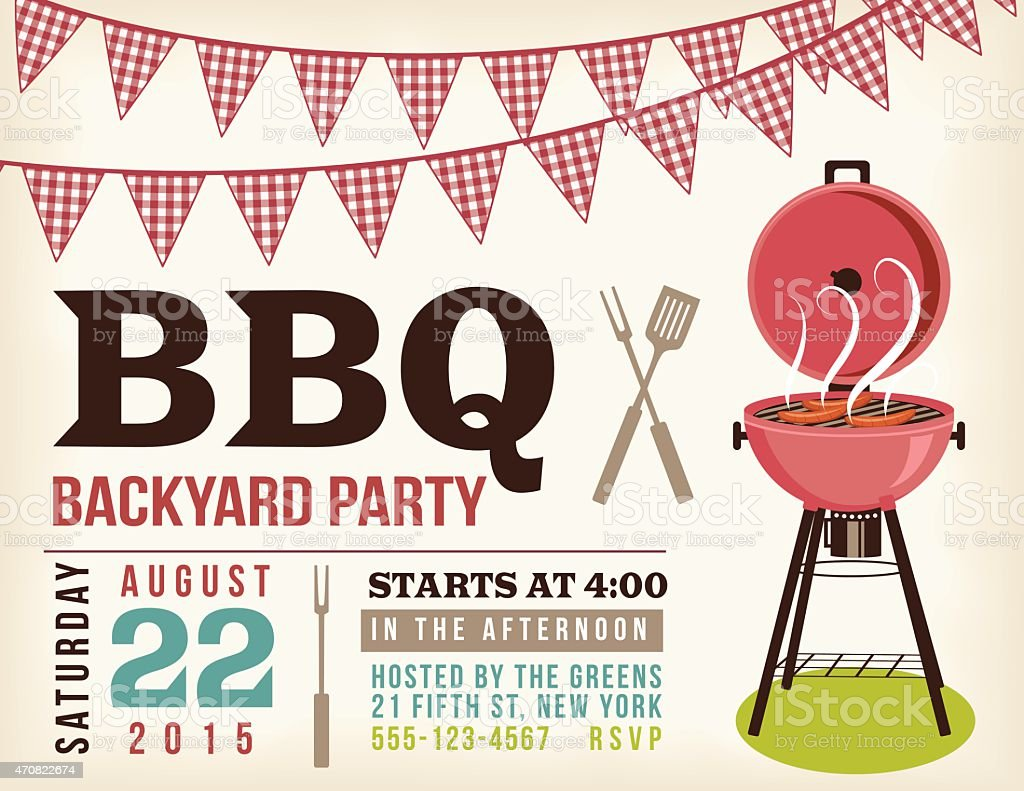 Retro BBQ Invitation Template With Checkered Flags​​vectorkunst illustratie