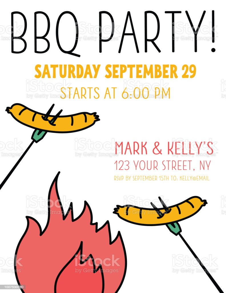 Retro Bbq Party Invitation Template Stock Vector Art More Images