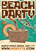 Retro Beach Cocktail Party Screen Printed Poster