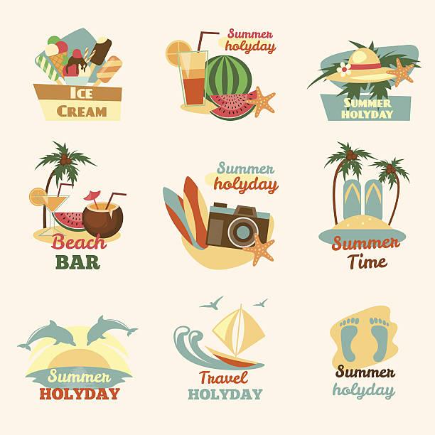 retro plaży symbolizujące - ice cream stock illustrations