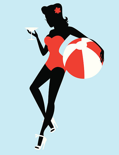 Retro beach girl Silhouette The silhouette of a beautiful retro girl with a flower in her hair, heels, holding a martini and a beach ball.  heyheydesigns stock illustrations