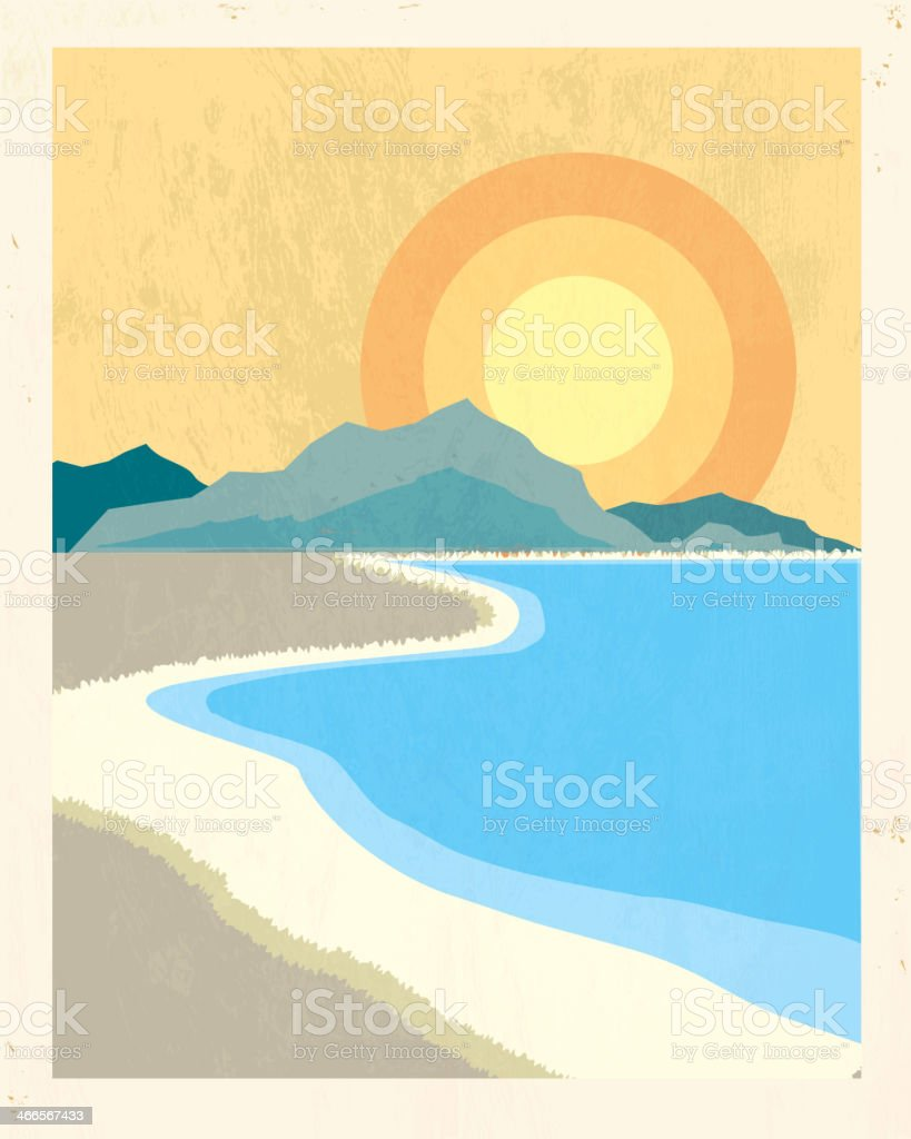 Retro beach poster backgound with lot's of texture vector art illustration