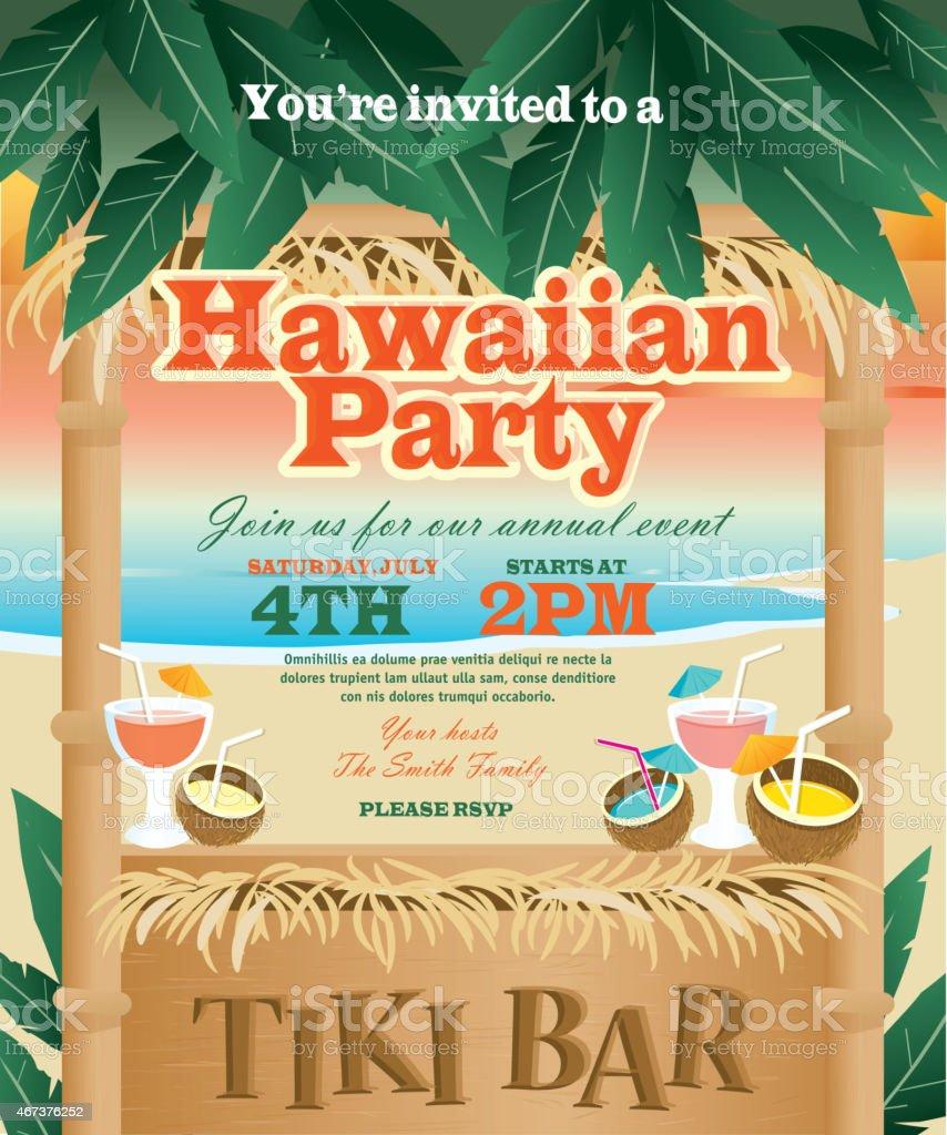 Retro Beach Summer Tiki Bar Hawaiian party invitation design template vector art illustration