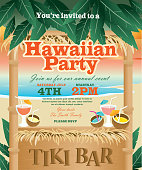 Retro Beach Summer Tiki Bar Hawaiian party invitation design template