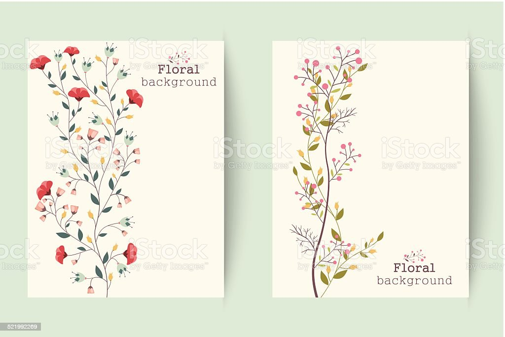 Retro Blumen Banner – Vektorgrafik