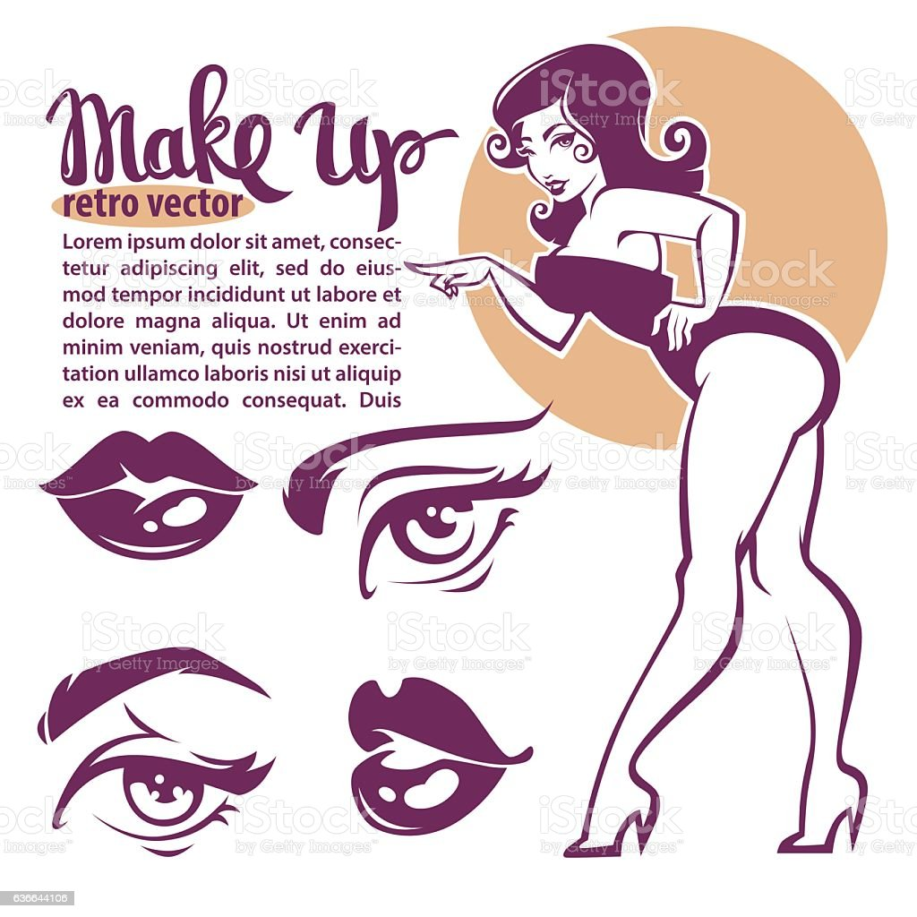 retro beauty collection, pinup girl, lips, eyes and lettering vector art illustration