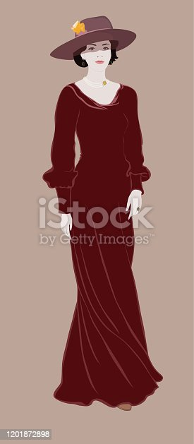 istock Retro beauty portrait of a woman in full growth in a long dress in a wide-brimmed hat in the style of the 19th century 1201872898