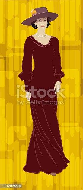 istock Retro beauty portrait of a woman in full growth in a long dress in a wide-brimmed hat in the style of the 19th century 1212528829