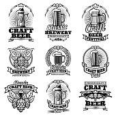 Retro beer pub vector emblems. Vintage traditional brewing labels