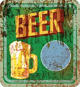 retro beer sign, rusty and weathered. grungy style.Good copy space for your text or logo vector illustration,fictional artwork