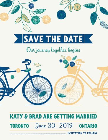 Retro Bicycle Save The Date Wedding Announcement
