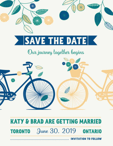 Retro Bicycle Save The Date Wedding Announcement vector art illustration