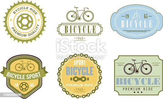 Retro bicycle sport logo set, badge can be used for bike or repair shop, cycling club, sport extreme activity vector Illustration isolated on a white background.