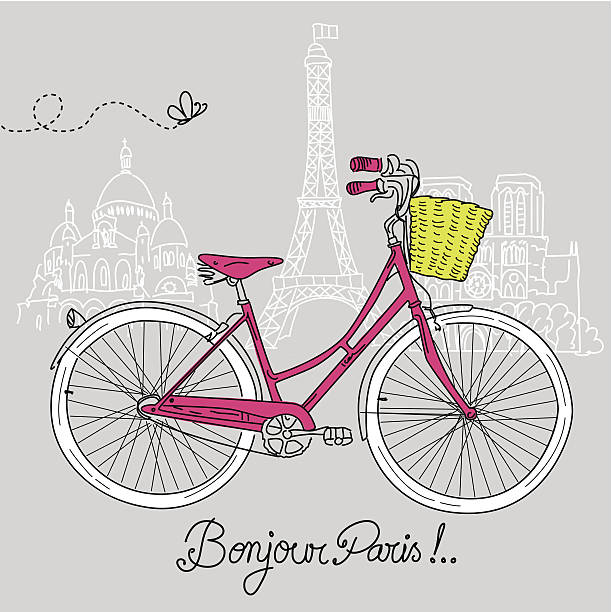 Retro Bicycle with Basket vector art illustration