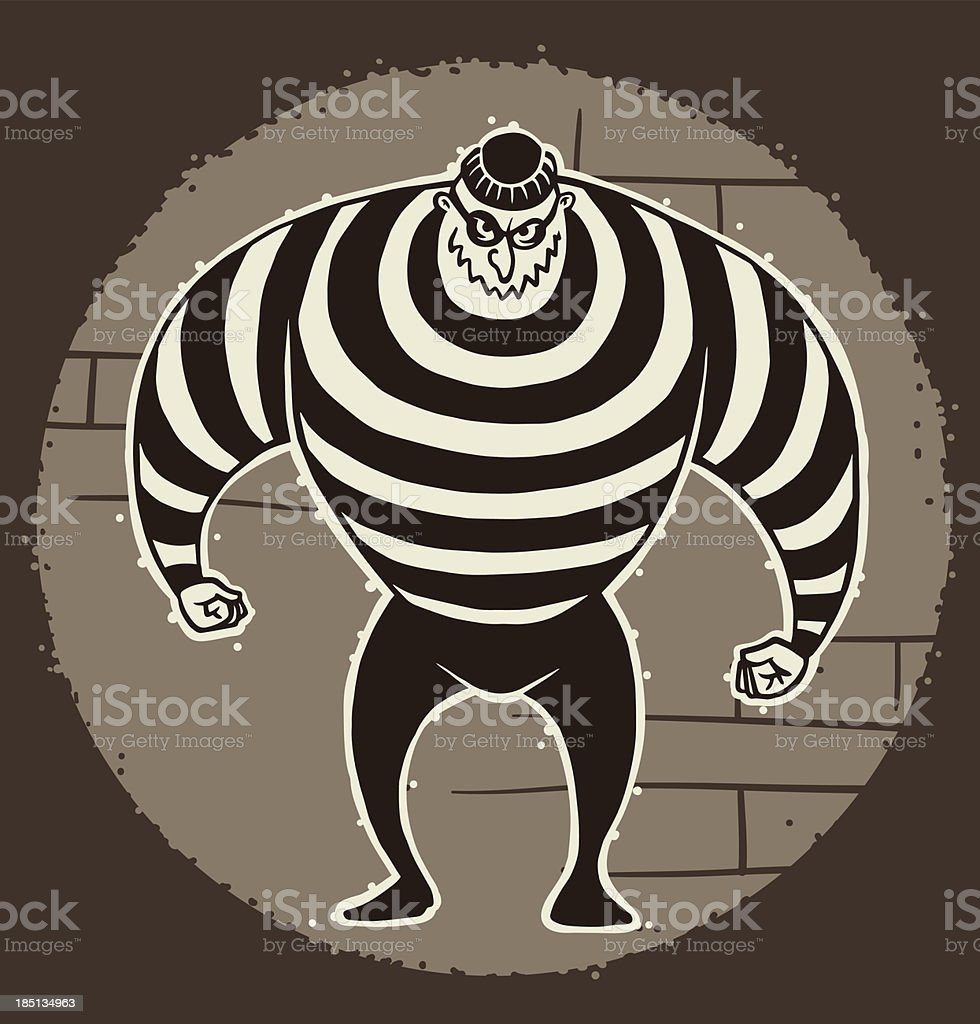 Retro big robber in mask royalty-free stock vector art