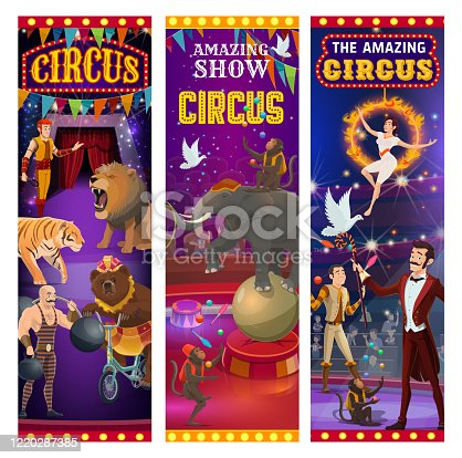 istock Retro big top circus show, animals and tamers 1220287385