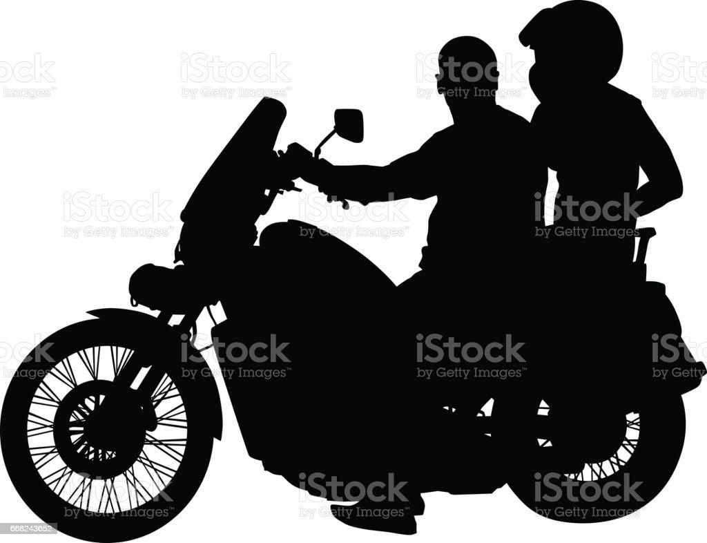 Retro bike and people vector art illustration