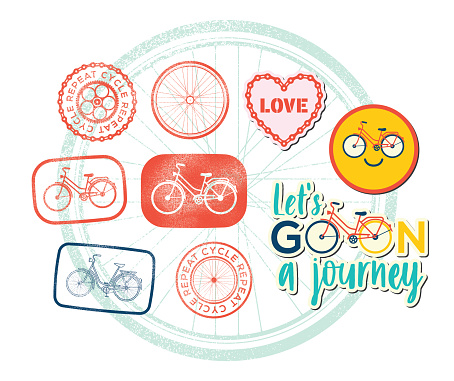 Retro Bike Stickers Bicycle Rubber Stamps Cycling Design