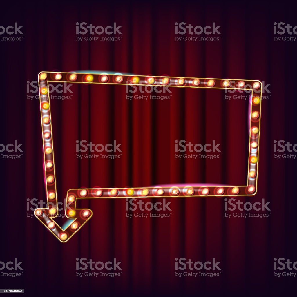 Retro Billboard Vector. Shining Light Sign Board. Realistic Lamp Frame. 3D Glowing Element. Vintage Illuminated Neon Light. Carnival, Circus, Casino Style. Illustration vector art illustration