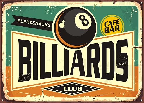 Retro billiards sign design with black eight ball on green background. Billiard club poster design.  Snooker promotional ad.
