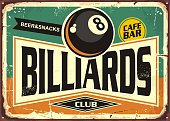 Retro billiards sign design