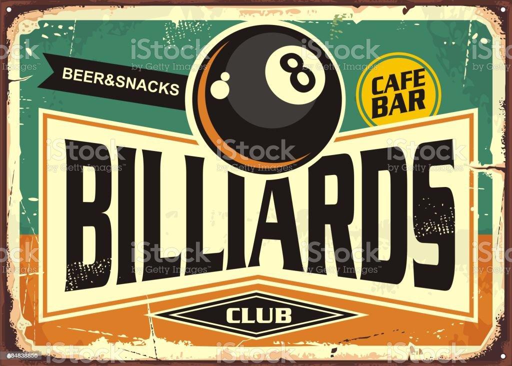 Retro billiards sign design vector art illustration
