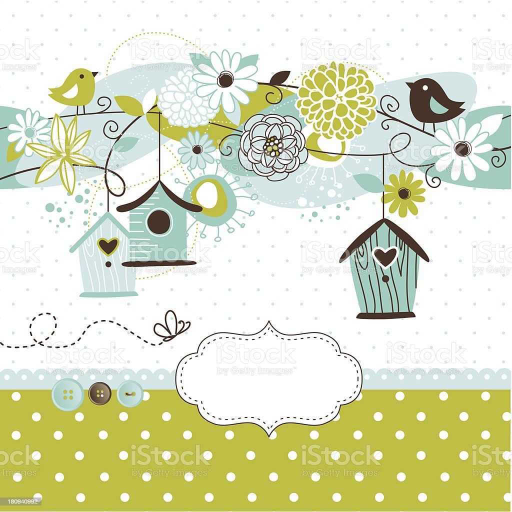 Retro Bird and Birdcage Design vector art illustration