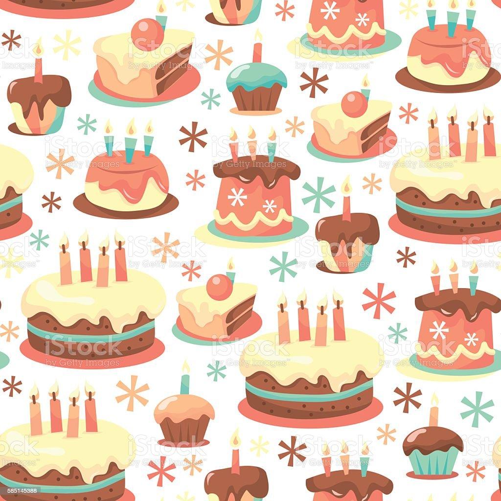 Retro Birthday Cakes Seamless Pattern Background Stock Vector Art