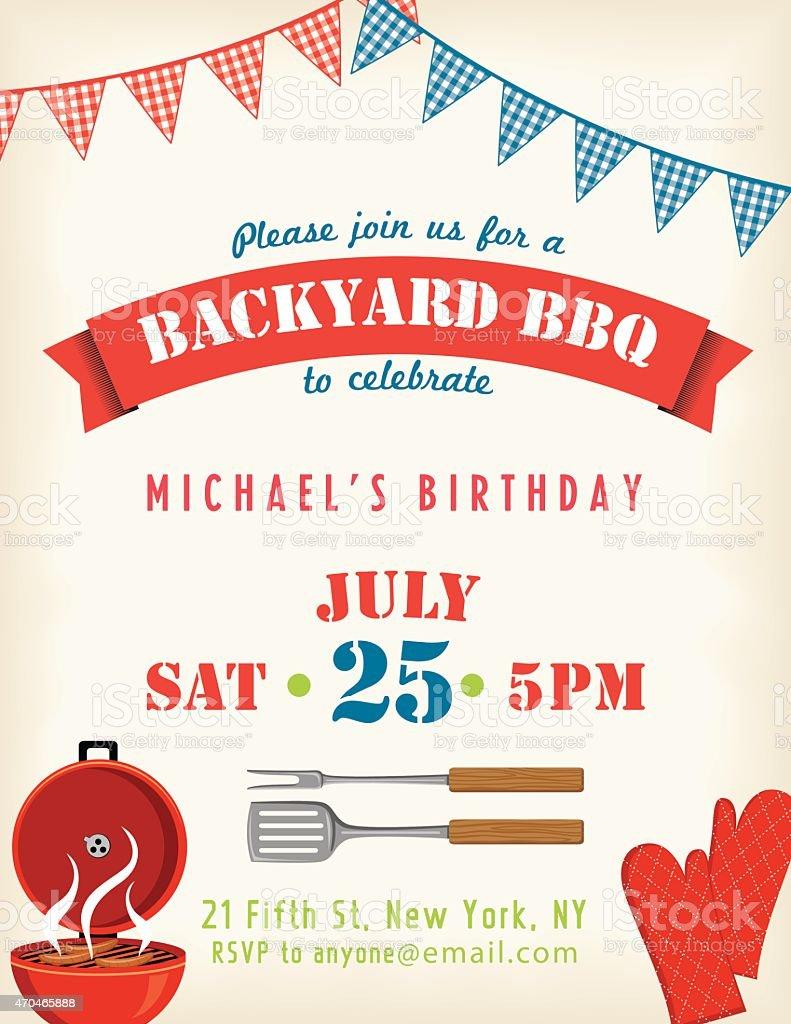 Retro Geburtstag Party Mit Barbecue Einladung Mit Bunting Flags Und Text  Lizenzfreies Vektor Illustration