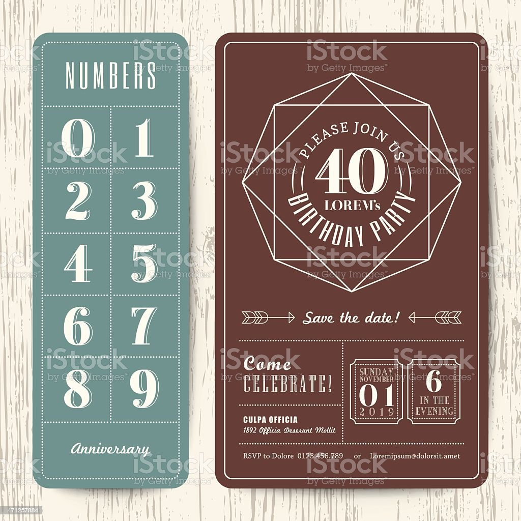 retro birthday party invitation card with editable numbers template vector art illustration