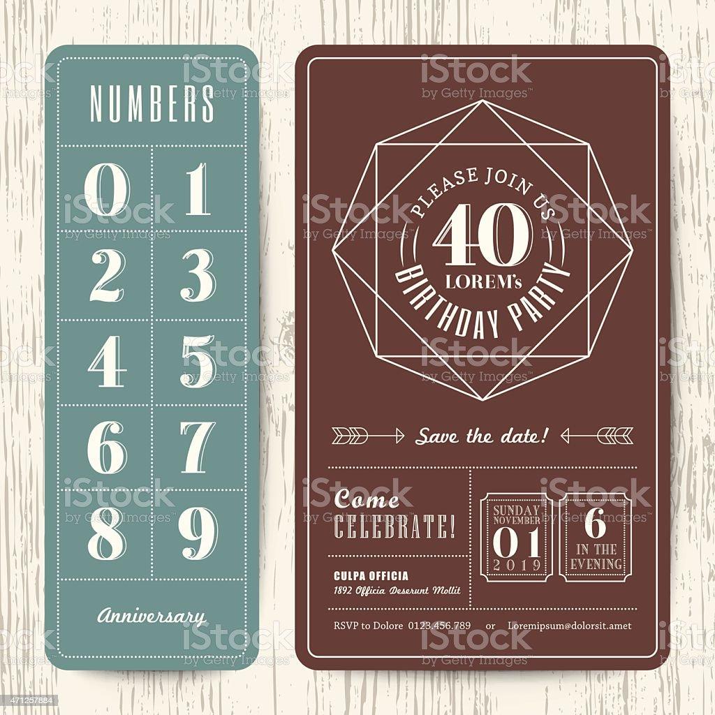 Retrò invito di compleanno carta modificabile con numeri di modello - illustrazione arte vettoriale