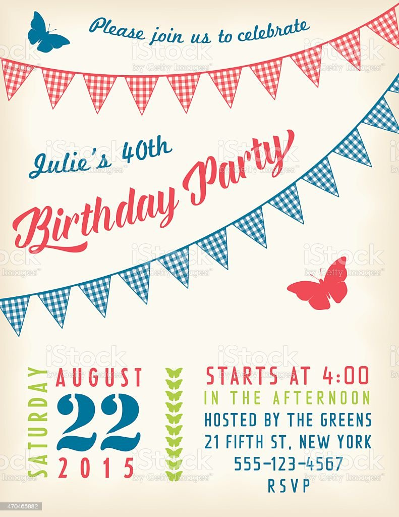 Retro Birthday Party Invitation Template With Bunting Flags And Text  Royalty Free Retro Birthday Party  Birthday Party Card Template