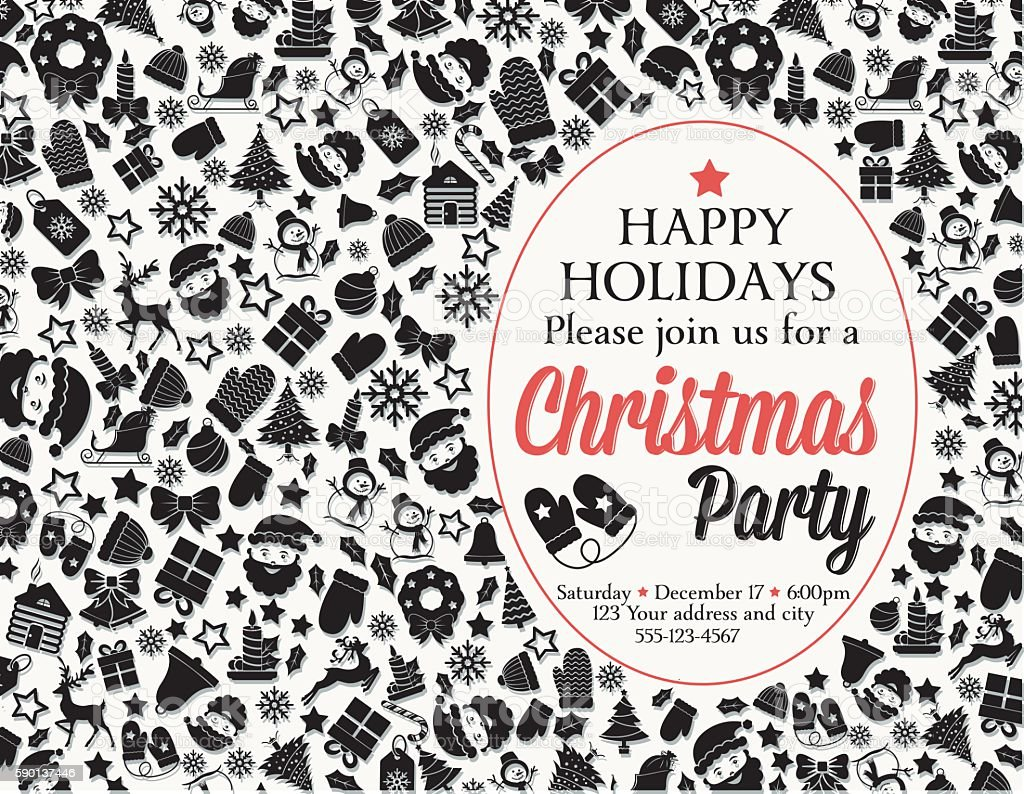 Retro Black And Red Christmas Party Invitation Template Stock Vektor