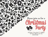 Christmas Party Invitation Template. An area of text with lots of retro holiday icons in elegant black, red and white.