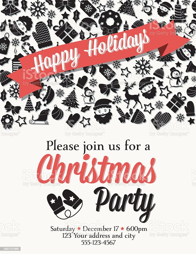 Retro Black And Red Christmas Party Invitation Template stock ...