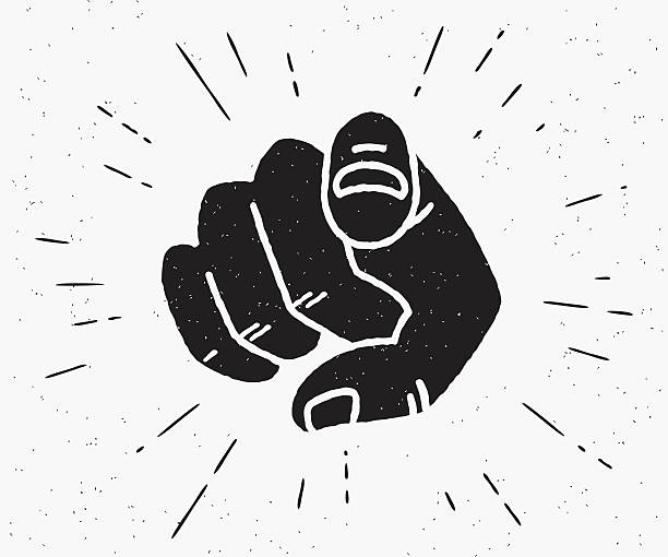 stockillustraties, clipart, cartoons en iconen met retro black hand pointing finger - passie