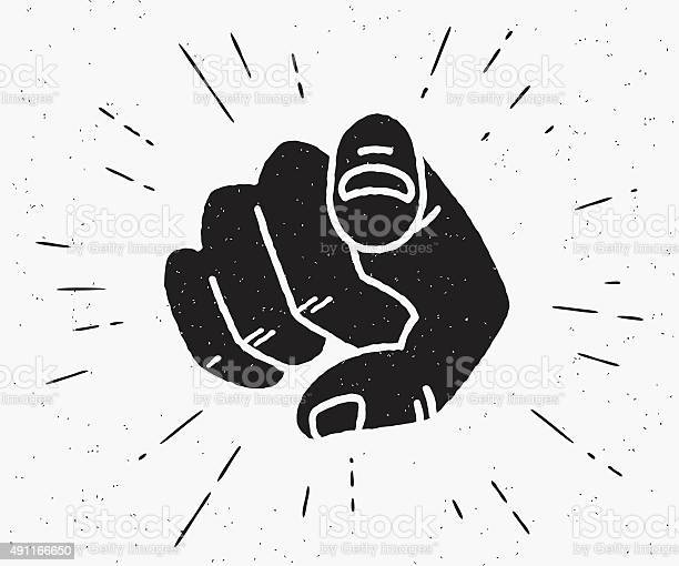 Retro human hand with the finger pointing or gesturing towards you. Vintage hipster illustration isolated on white background