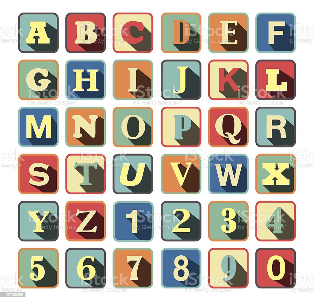 Retro block Alphabet with vintage colors and letters