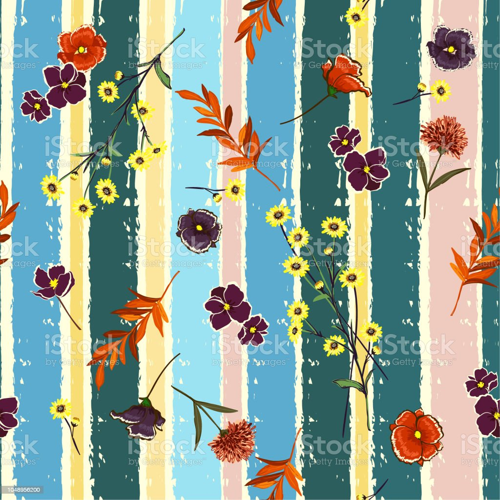 Retro Blowing Flowers On Candy Colorful Brush Stripe Vintage Mood Seamless Pattern Vector Design For Fashion Fabric Wallpaper Stock Illustration