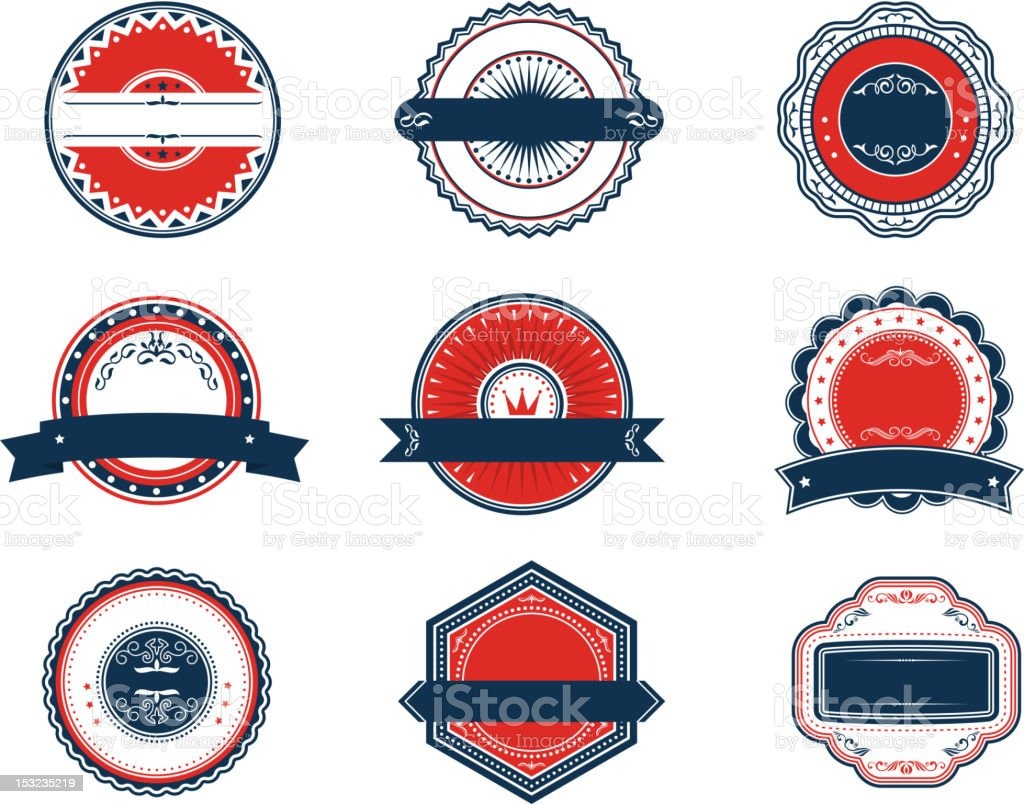 Retro blue and red labels set royalty-free stock vector art