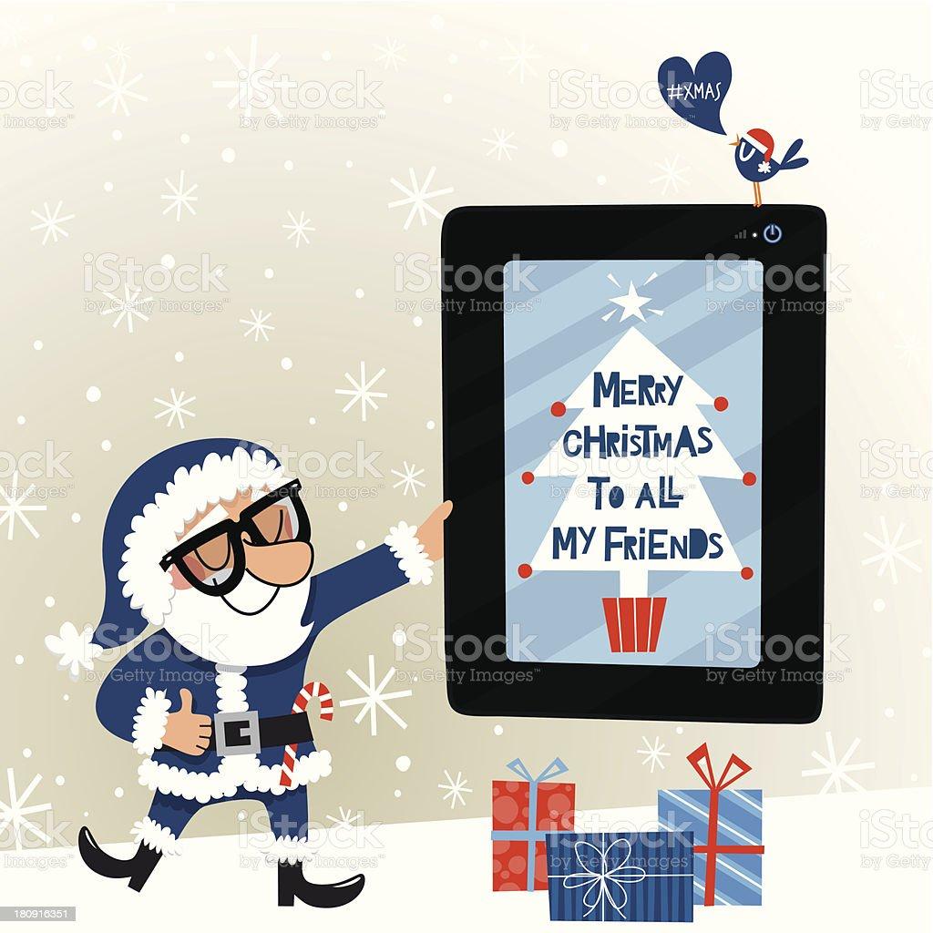 Retro blue Santa Claus royalty-free stock vector art