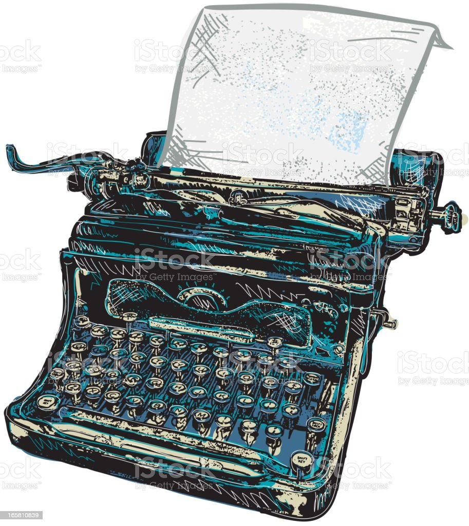 Retro blue typewriter with paper isolated on white royalty-free retro blue typewriter with paper isolated on white stock vector art & more images of 1940-1949