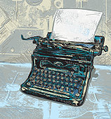 Retro illustration of a vintage blue typewriter with black accent shadows on a grunge texture. Blank texture for copy space. Download includes Illustrator eps 8 with fully typewriter, paper and background on separate layers. Also included in download is high resolution jpg and png file. See my portfolio for other retro typewriter and office illustrations.