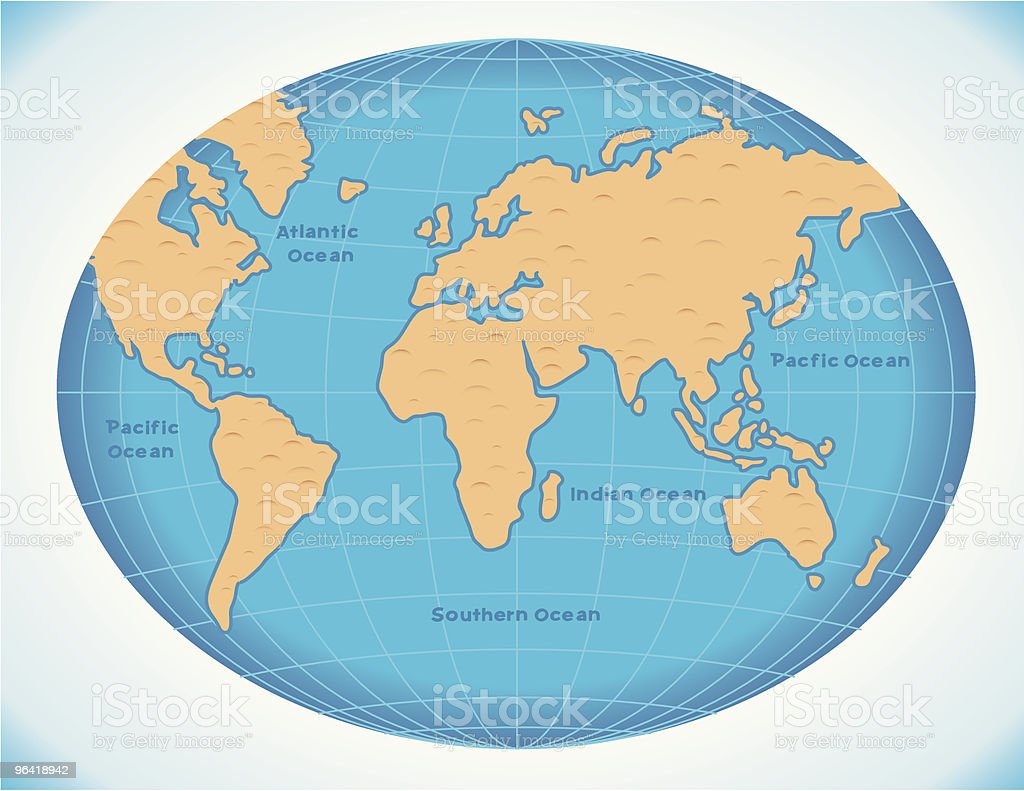 Retro Blue World Map royalty-free stock vector art