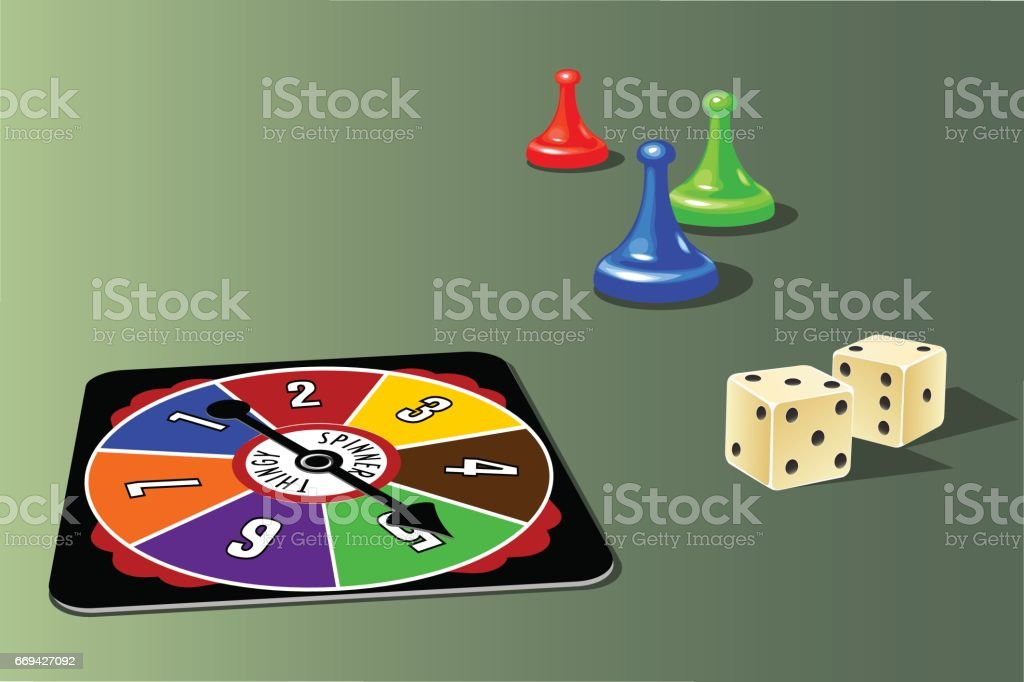 retro board game pieces, spinner and dice. vector art illustration