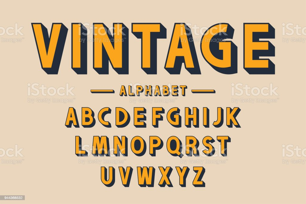 Retro Bold Font And Alphabet Strong Letters With Long Shadows In Vintage Style