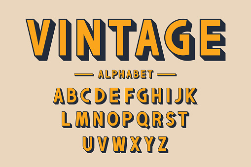 Retro bold font and alphabet. Strong letters with long shadows in vintage style. Retro typography, poster design elements. Vector