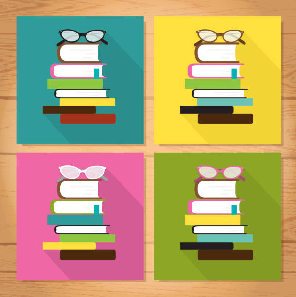 Retro book club design set of four with wooden background Retro book club design set of four with wooden background book club stock illustrations